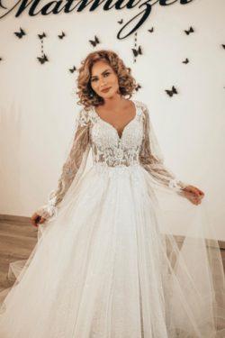 Designer Hochzeitskleider Spitze | Boho Brautkleider mit armel | Babyonlinedress.de