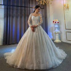 Extravagante Hochzeitskleider A Linie | Spitze Brautkleider Mit armel | Babyonlinedress.de