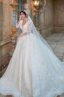 Extravagante Hochzeitskleider Glitzer   Prinzessin Brautkleider Spitzenarmel   Babyonlinedress.de