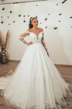 Moderne Brautkleider mit armel | Hochzeitskleider A Linie Spitze | Babyonlinedress.de