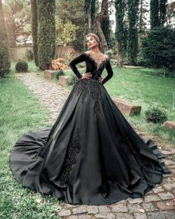 Prinzessin Hochzeitskleider Schwarz | Brautkleider mit armel | Babyonlinedress.de