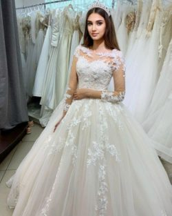 Prinzessin Hochzeitskleider Spitze | Brautkleider mit armel | Babyonlinedress.de