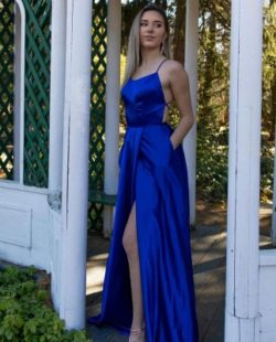 Schlichtes Abendkleid Konig Blau | Abiballkleider Lang Gunstig | Babyonlinedress.de