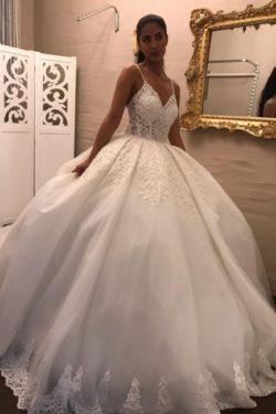 Wunderschone Brautkleider Prinzessin   Hochzeitskleider mit armel   Babyonlinedress.de