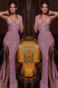 Abendkleid Lang Rosa | Abiballkleider mit Glitzer | Babyonlinedress.de
