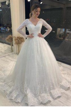 Brautkleider A Linie Spitze | Hochzeitskleider Glitzer Mit armel | Babyonlinedress.de