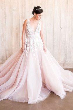 Designer Brautkleider A Linie | Hochzeitskleider Blush Pink | Babyonlinedress.de