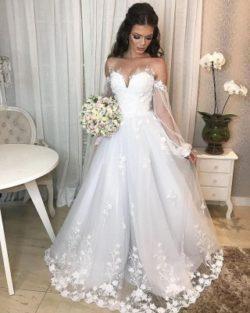 Designer Hochzeitskleid A Linie Spitze | Brautkleider mit armel | Babyonlinedress.de