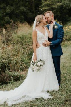 Designer Hochzeitskleider mit armel   Brautkleid A Linie Spitze   Babyonlinedress.de