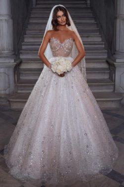 Elegante Brautkleider Glitzer | Hochzeitskleider A Linie Spitze | Babyonlinedress.de