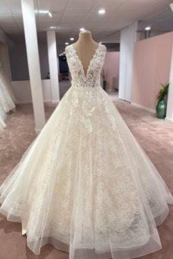 Elegante Brautkleider V Ausschnitt | Hochzeitskleider A Linie Spitze | Babyonlinedress.de