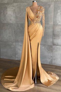Gold Abiballkleider Lang Glitzer | Abendkleider mit armel | Babyonlinedress.de