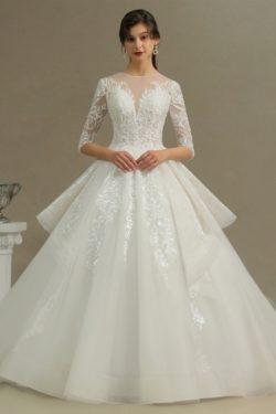 Hochzeitskleid Standesamt A Linie | Brautkleider mit armel | Babyonlinedress.de