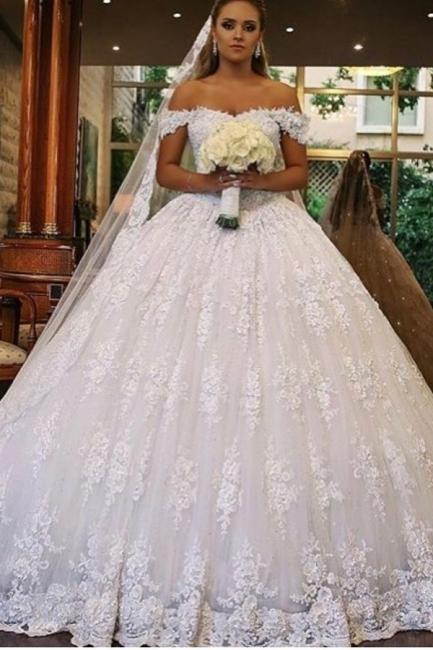 Luxus Brautkleider mit Spitze   Prinzessin Hochzeitskleider Gunstig   Babyonlinedress.de