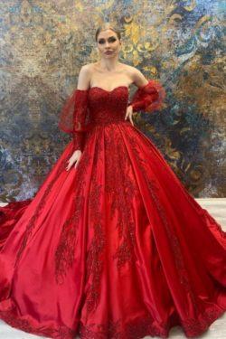 Luxus Hochzeitskleider Rot | Prinzessin Brautkleider Online Kaufen | Babyonlinedress.de