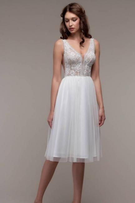 Schlichtes Hochzeitskleid Gunstig | Strand Brautkleid mit Spitze | Babyonlinedress.de