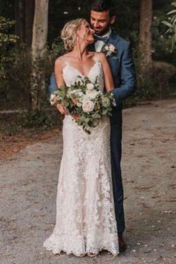 Schlichtes Hochzeitskleid Meerjungfrau | Brautkleider mit Spitze | Babyonlinedress.de