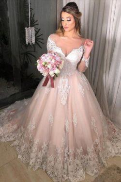 Wunderschone Hochzeitskleider Mit armel | Brautkleider A Linie Spitze | Babyonlinedress.de