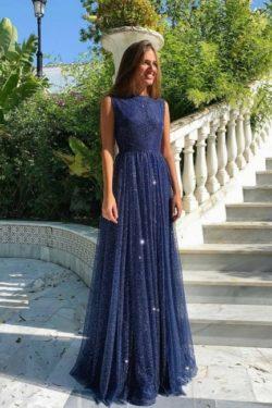 Abendkleider Lang Navy Blau | Abiballkleider mit Glitzer | Babyonlinedress.de