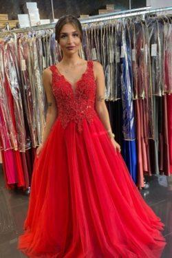 Abendkleider Lang V Ausschnitt | Rote Abiballkleider Gunstig | Babyonlinedress.de