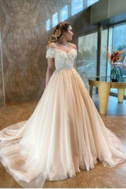 Champagne Brautkleider A Linie | Hochzeitskleider Gunstig Online | Babyonlinedress.de