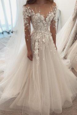 Designer Brautkleider A Linie Spitze | Hochzeitskleider mit armel | Babyonlinedress.de
