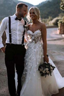 Designer Hochzeitskleider Mit Spitze | Brautkleid A Linie | Babyonlinedress.de