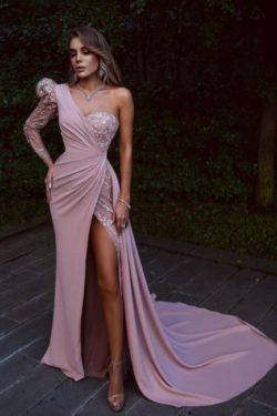 Elegante Abendkleider Lang Rosa | Abiballkleider mit Spitze | Babyonlinedress.de