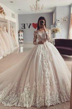 Elegante Brautkleider A Linie | Hochzeitskleider Mit Spitze armel | Babyonlinedress.de
