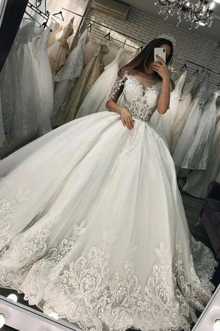 Elegante Brautkleider Mit armel | Hochzeitskleider Prinzessin | Babyonlinedress.de