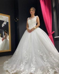Elegante Brautkleider Prinzessin | Tull Hochzeitskleider mit Spitze | Babyonlinedress.de