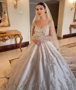 Extravagante Brautkleider Prinzessin | Hochzeitskleider Mit armel | Babyonlinedress.de