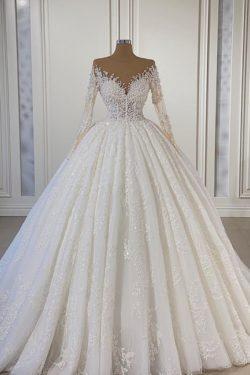 Extravagante Hochzeitskleider Mit armel | Brautkleider A Linie | Babyonlinedress.de