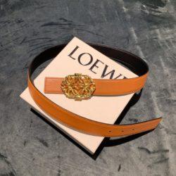 Loewe Anagram Buckle Reversible Belt Smooth Calfskin In Brown