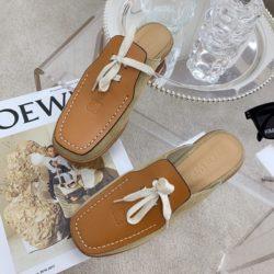 Loewe Lace Up Mule Women Suede and Calfskin In Brown