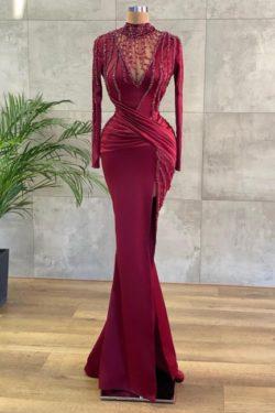 Luxus Abendkleider Lang Weinrot | Abiballkleider mit armel | Babyonlinedress.de