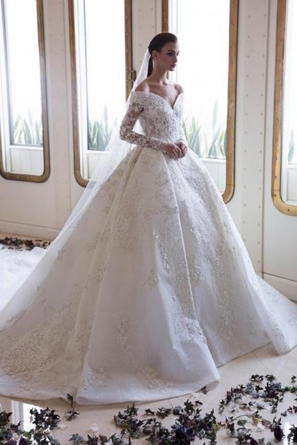 Luxus Brautkleider Mit armel | Spitze Hochzeitskleider A Linie | Babyonlinedress.de