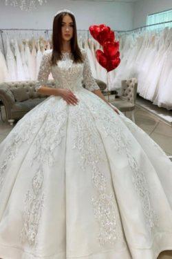Prinzessin Hochzeitskleider mit armel | Satin Brautkleider Glitzer | Babyonlinedress.de
