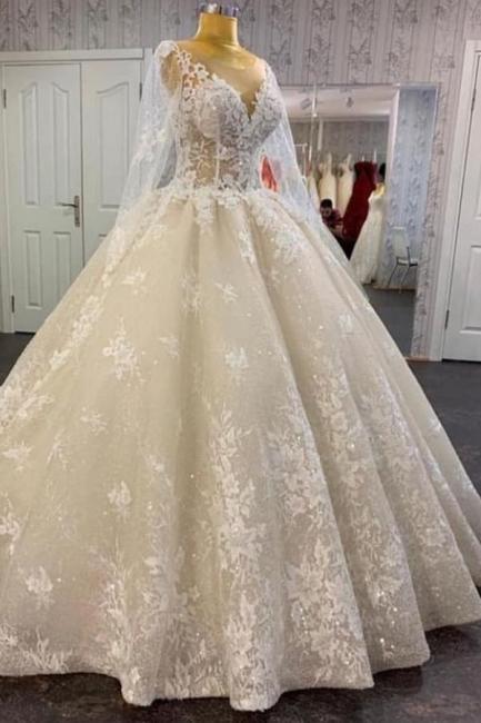 Prinzessin Hochzeitskleider Spitze | Brautkleid mit armel | Babyonlinedress.de