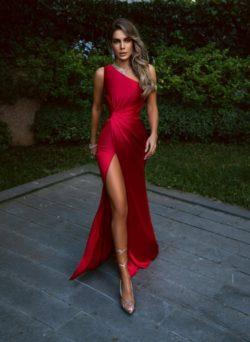 Rote Abendkleider Lang Gunstig | Schlichtes Abiballkleid | Babyonlinedress.de