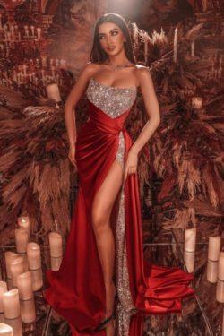 Rote Abiballkleider Lang Glitzer | Abendmoden Online Kaufen | Babyonlinedress.de
