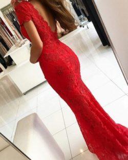 Rotes Abendkleid Lang V Ausschnitt | Abiballkleider Spitze | Babyonlinedress.de