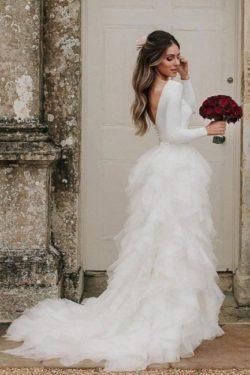Schlichte Hochzeitskleider Weis | Brautkleider mit armel | Babyonlinedress.de