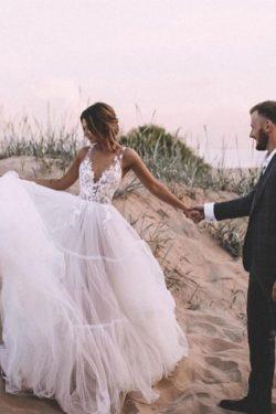 Schlichtes Brautkleid A Linie | Hochzeitskleider mit Spitze | Babyonlinedress.de