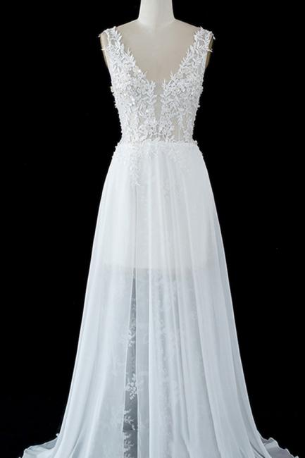 Schlichtes Hochzeitskleid A Linie | Brautkleider mit Spitze | Babyonlinedress.de