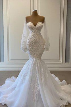Schone Brautkleider Meerjungfrau | Spitze Hochzeitskleider mit armel | Babyonlinedress.de