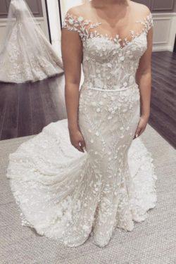 Schone Hochzeitskleider Meerjungfrau Spitze | Brautkleid Cream | Babyonlinedress.de