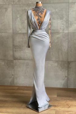 Silber Abiballkleider Lang Gunstig | Abendkleider mit armel | Babyonlinedress.de