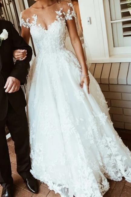 Brautkleider mit Spitze | Hochzeitskleider A Linie Mit armel | Babyonlinedress.de