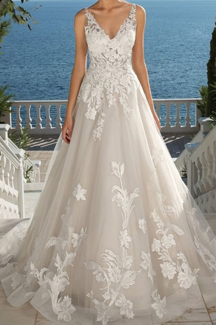 Designer Brautkleid A linie Spitze | Hochzeitskleider Gunstig | Babyonlinedress.de